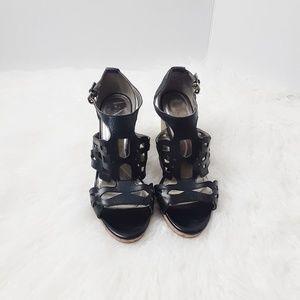 Tahari Wyne Wedge Sandals Cork Black 8M